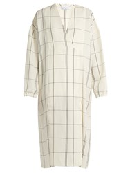 Raey V Neck Checked Twill Dress White