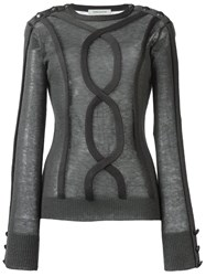 Balmain Pierre Sheer Cable Trim Jumper Grey