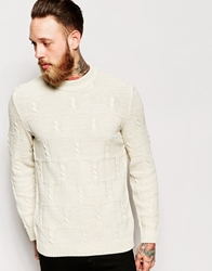 Asos Cable Jumper With Chunky Neck Ecru