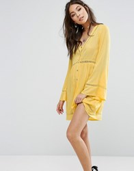 Kiss The Sky Button Front Tea Dress With Ladder Inserts Yellow