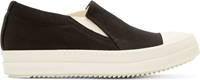 Rick Owens Black Canas Slip On Boat Sneakers