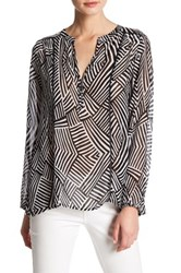 Casual Studio Split Neck Printed Blouse Black