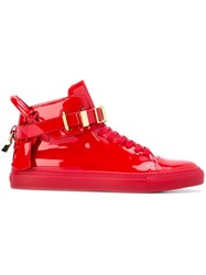 Buscemi Buckled Hi Top Sneakers Red