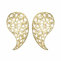 Sonal Bhaskaran Jaali Gold Earrings Clear Cz