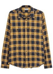Vince Mustard Checked Cotton Shirt Yellow