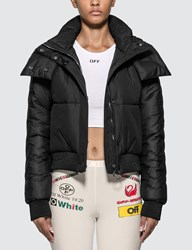 Off White Embroidered Arrow Down Jacket Black