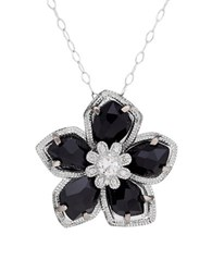 Lord And Taylor Diamond Sterling Silver Onyx Flower Pendant Necklace Black