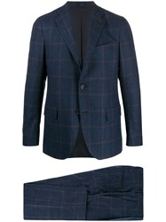 Lardini Two Piece Check Suit Blue