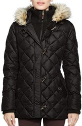 Women's Lauren Ralph Lauren Faux Fur Trim Toggle Closure Quilted Down And Feather Fill Jacket Black