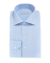 Stefano Ricci Thick Striped Cotton Dress Shirt White Blue