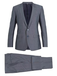 Dolce And Gabbana Martini Silk Wool Blend Suit Blue
