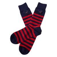 Barbour Macrath Stripe Socks Navy Red