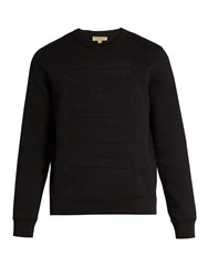 Burberry Regimental Tape Applique Cotton Blend Sweatshirt Black