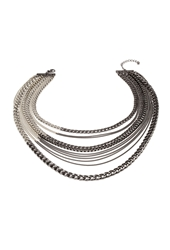 Forever 21 Mixed Chain Necklace Gunmetal Silver