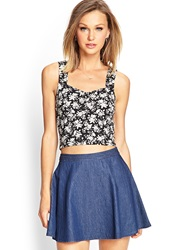 Forever 21 Floral Sweetheart Crop Top Black Cream