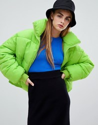 Bershka Flash Padded Jacket Green