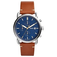 Fossil Men's Commuter Date Leather Strap Watch Brown Blue