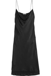 Protagonist Draped Hammered Charmeuse Dress Black