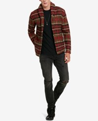 Denim And Supply Ralph Lauren Men's Plaid Shawl Collar Cardigan Red