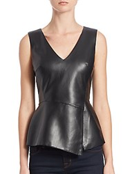 Bailey 44 Gehry Faux Leather Peplum Top Black