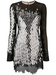 Balmain Mirror Sequin Mini Dress Black