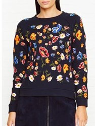 Whistles Embroidered Flower Sweatshirt Navy