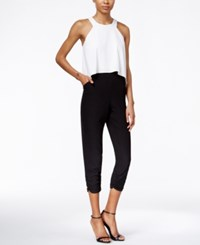 Bar Iii Colorblocked Popover Jumpsuit Only At Macy's Black Combo