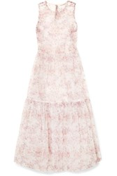 Ulla Johnson Polline Tiered Floral Print Organza Midi Dress Pink