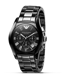 Emporio Armani Oversized Round Chronograph Watch 42 Mm Black