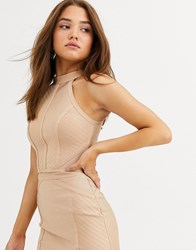 Lipsy Bandage Knitted Top Co Ord In Camel Beige