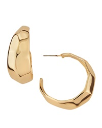 Kenneth Jay Lane Pebbled Half Moon Hoop Earrings Golden