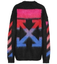 Off White Mohair And Wool Blend Sweater Black
