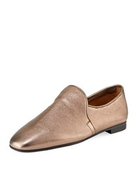 860a576512d Aquatalia By Marvin K Revy Flat Metallic Leather Loafers Gold