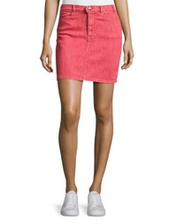Frame Le Color Denim Pencil Skirt Crimson Red
