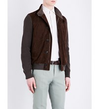 Corneliani Contrast Panel Suede And Cotton Knitted Jacket Brown