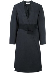 Christophe Lemaire Belted Wrap Detail Coat Grey