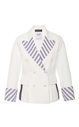 Rossella Jardini Feminine Military Double Breasted Striped Jacket White