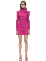 Alex Perry Techno Crepe Mini Dress Fuchsia