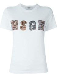 Msgm Embellished T Shirt White