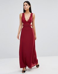 Club L Lace Maxi Dress With Cut Out Detail Berry Red