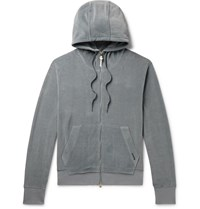 Tom Ford Cotton Blend Velour Zip Up Hoodie Blue