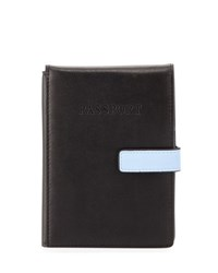 Neiman Marcus Leather Snap Front Travel Wallet Black Blue