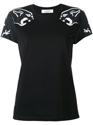 Valentino Tiger Detail T Shirt Women Cotton Polyester Xs Black