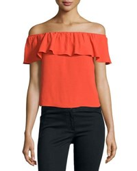 Veronica Beard Coast Ruffled Off The Shoulder Top Red