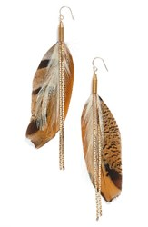 Serefina Women's Vintage Feather Drop Earrings Brown Gold
