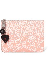 Christian Louboutin Loubicute Embellished Printed Leather Clutch Antique Rose