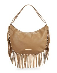Kensie Fringed Faux Leather Hobo Bag Iced Cocoa