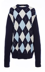 Michael Kors Long Sleeve Oversized Argyle Crewneck Blue