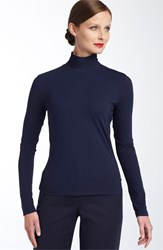 St. John Women's Collection 'Nuda' Fine Jersey Turtleneck Shell Navy