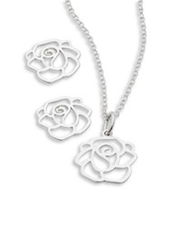 Lord And Taylor Sterling Silver Rose Earring Necklace Set